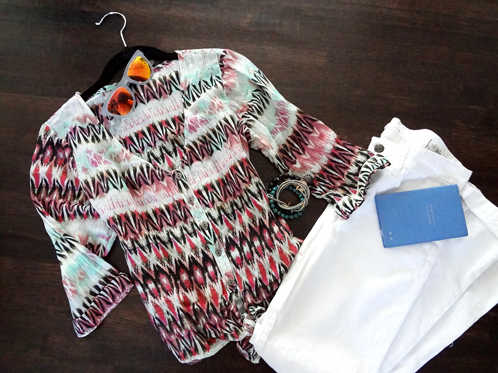 alessandra's closet - tribal button up - white jeans