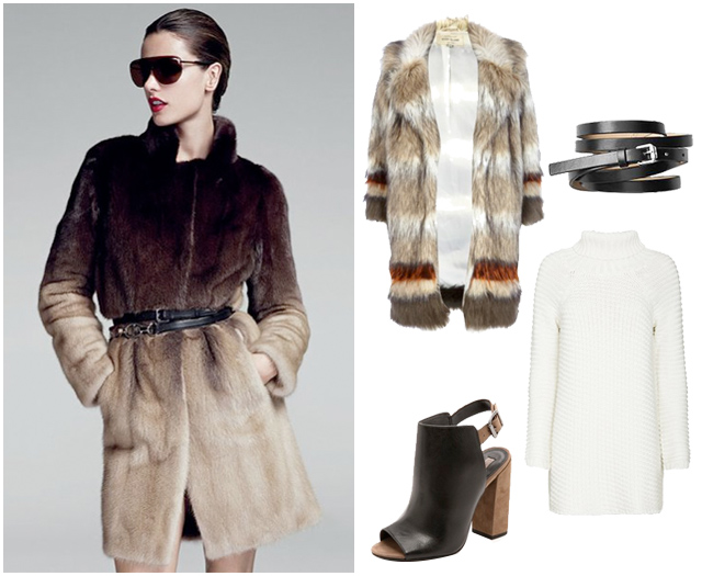 Sweater Dress Style - Belted - Fur Coat