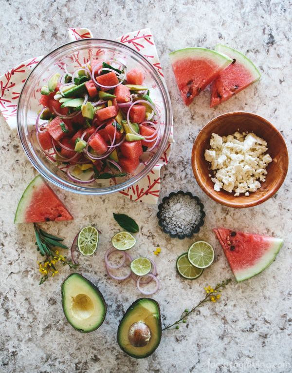 Foodie Love: Watermelon, Avocado, and Mint Salad with Feta