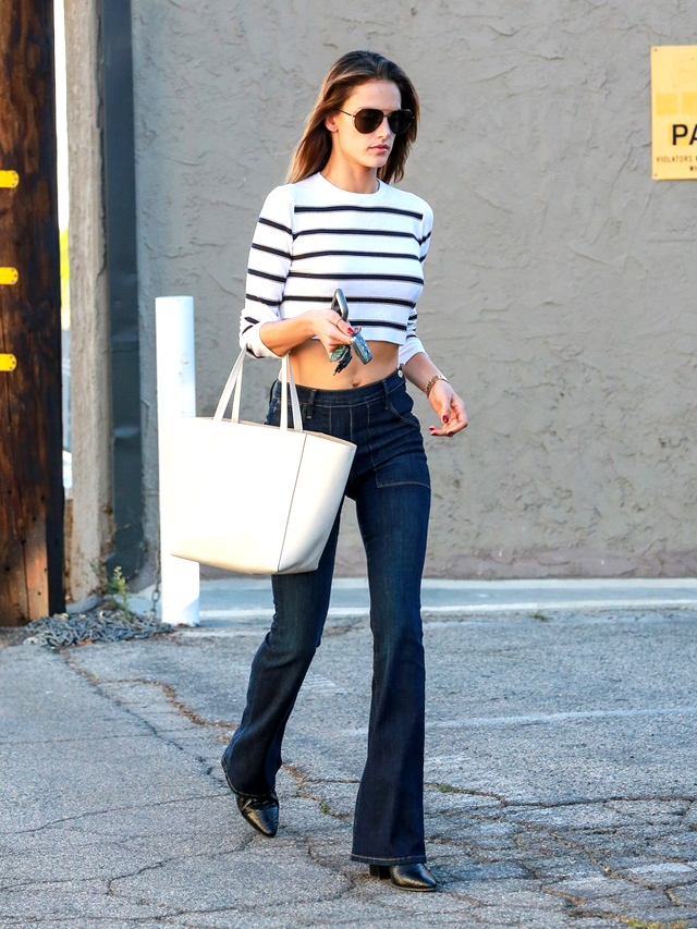 alessandra-ambrosio-stripes-crop-top-flare-jeans